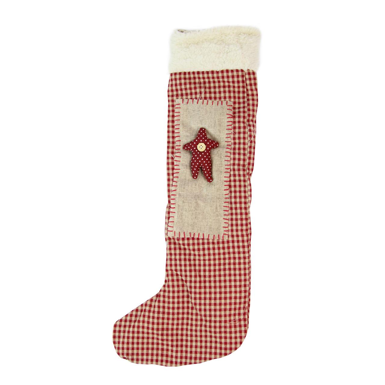 Decoratiune Ciorap Din Textil Bej Cu Rosu Pepit 45 Cm