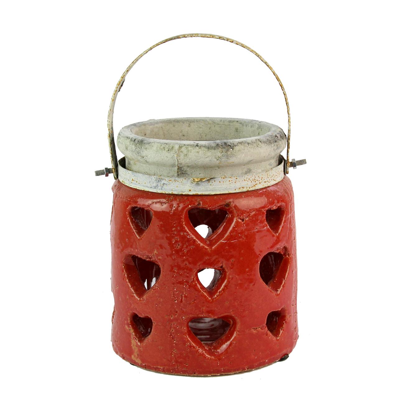 Candela Din Ceramica Rosie Cu Gri 19 Cm
