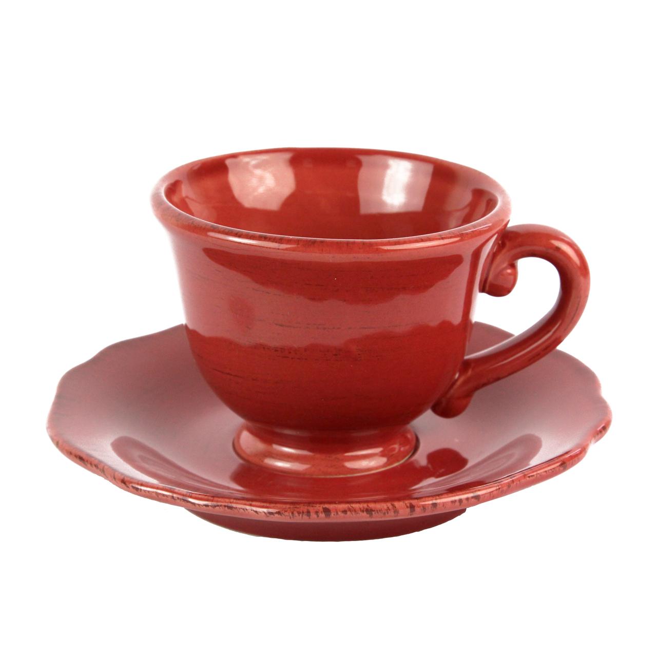 Ceasca Cu Farfurie Din Ceramica Visinie