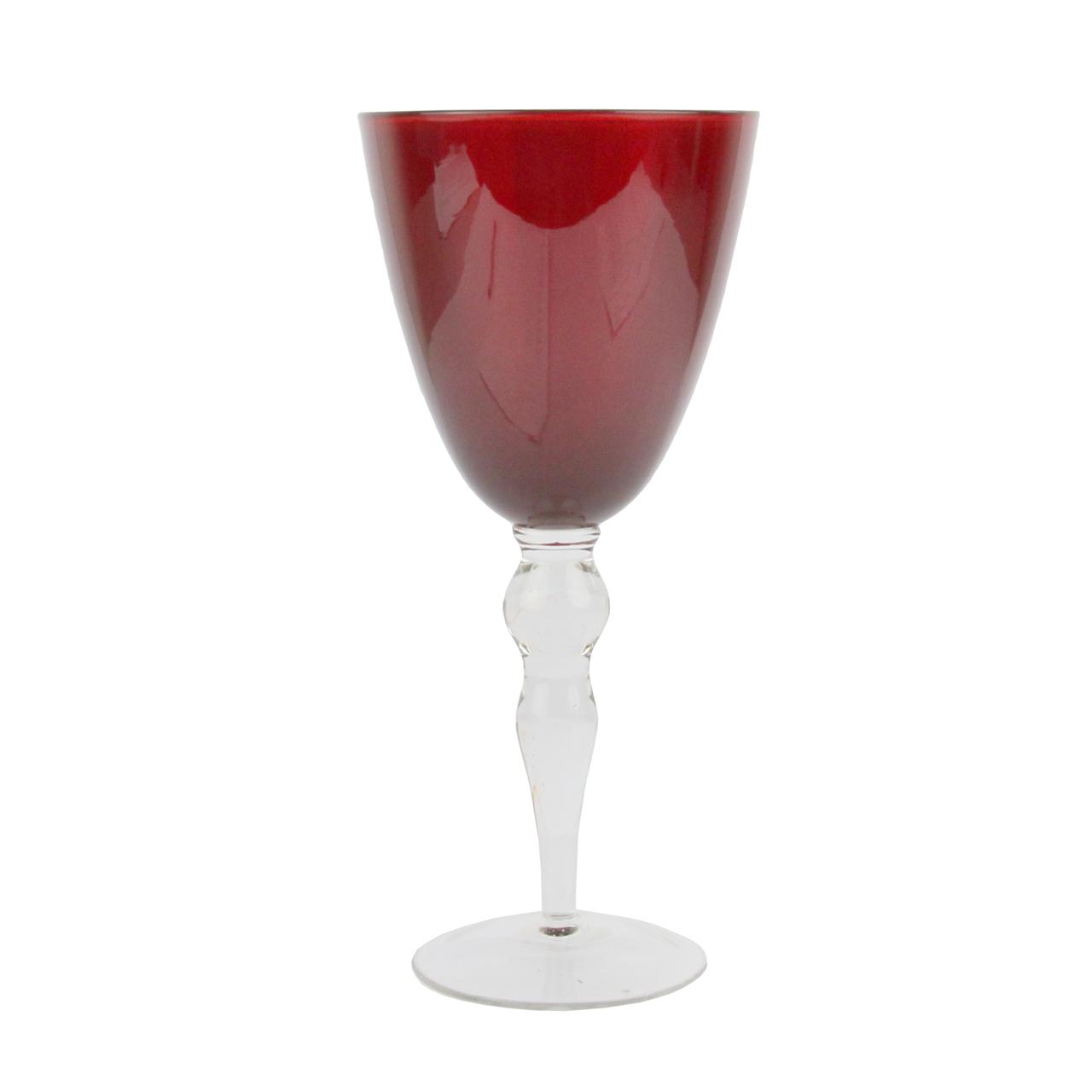 Pahar De Vin Din Sticla Rosie 20 Cm