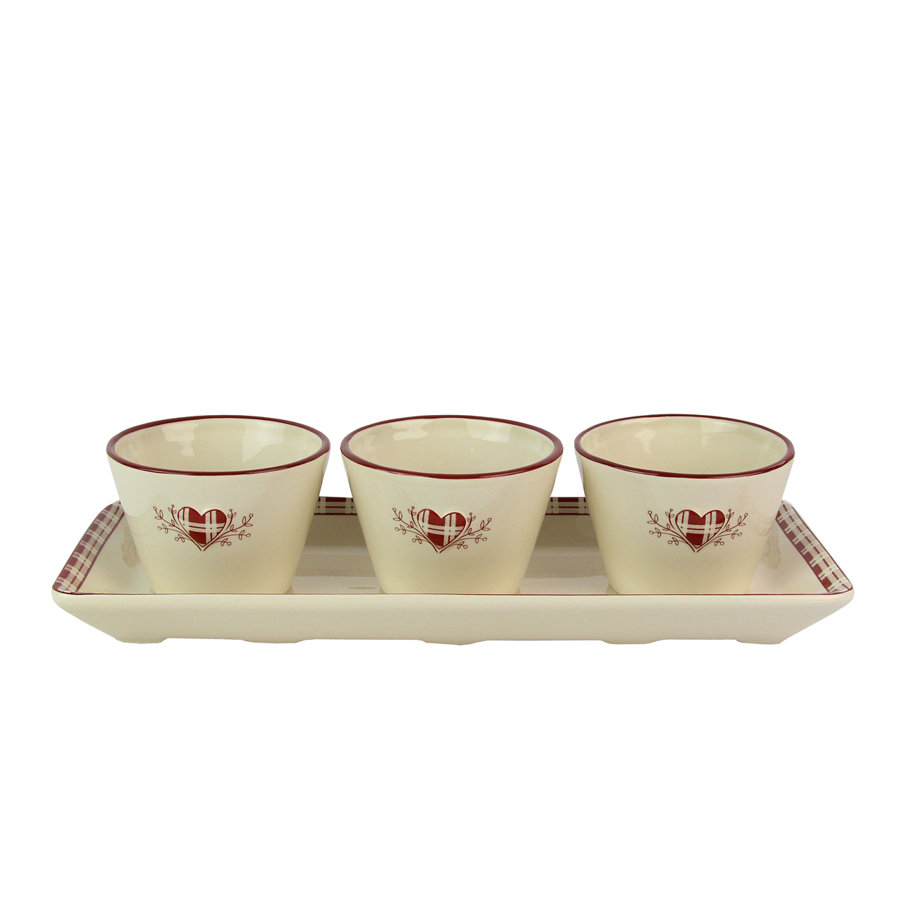 Tava Cu 3 Recipiente Din Ceramica Bej Cu Visiniu