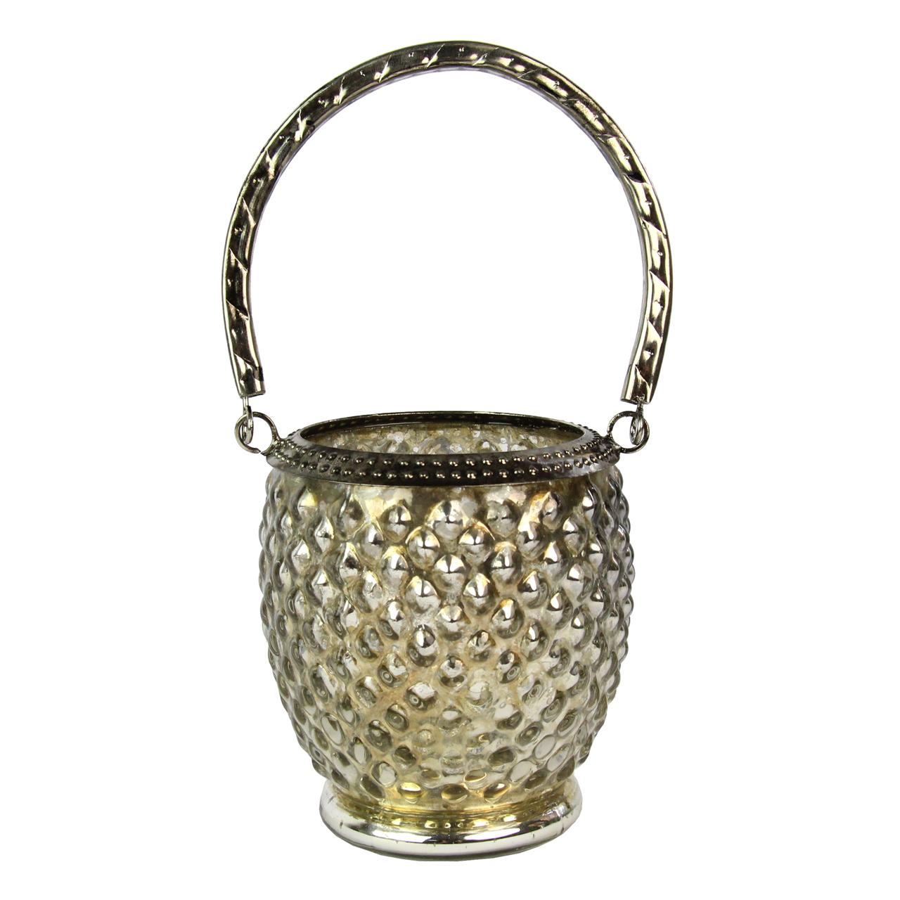 Candela Din Sticla Si Metal Argintie 11 Cm