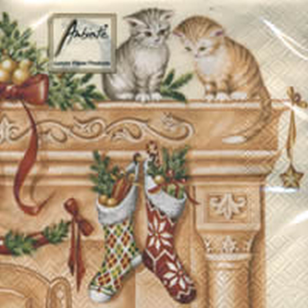 Servetele Decorative Din Hartie Cu Pisici De Craciun 25 Cm