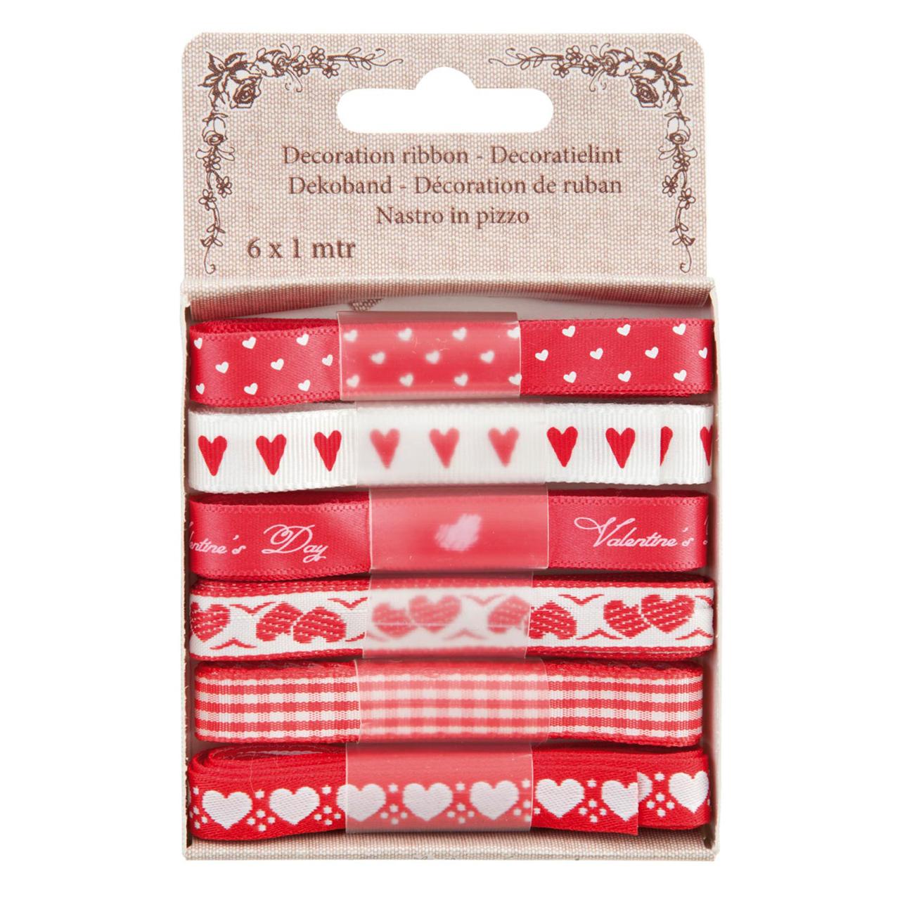 Cutie Cu 6 Panglici Din Textil Roz Si Alb
