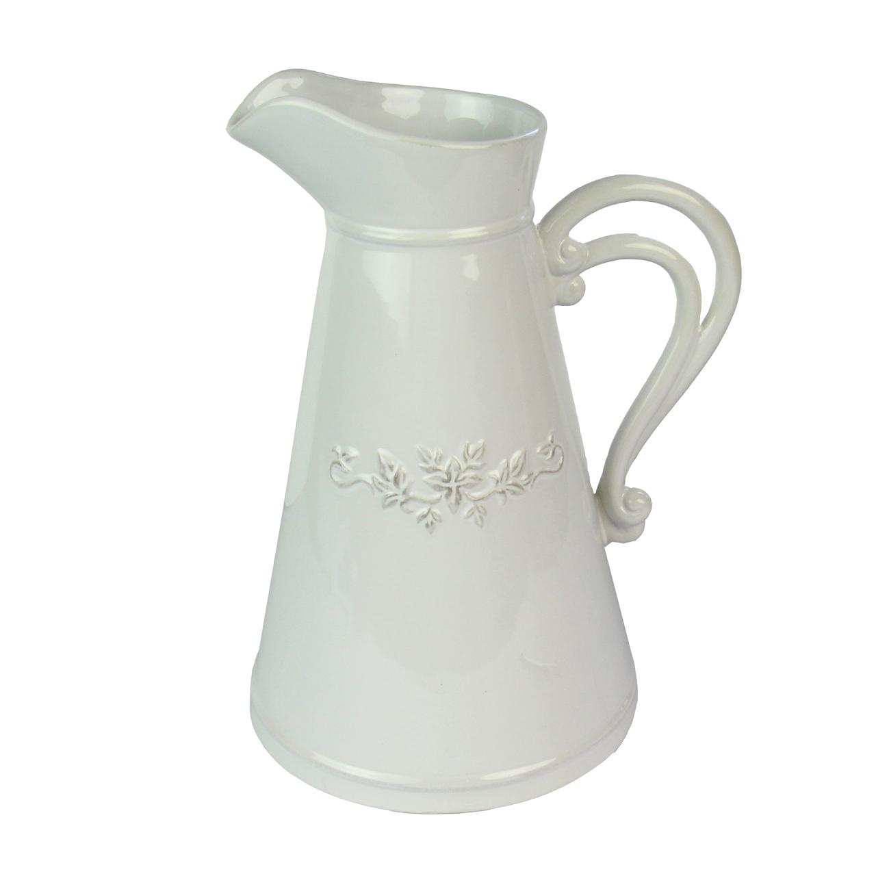 Carafa Din Ceramica Alba Cu Flori 30 Cm