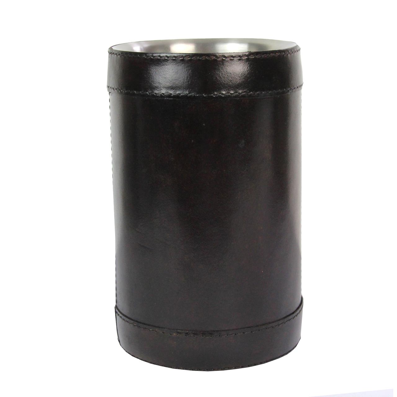Frapiera Din Metal Argintiu Si Piele Maro 20.5 Cm