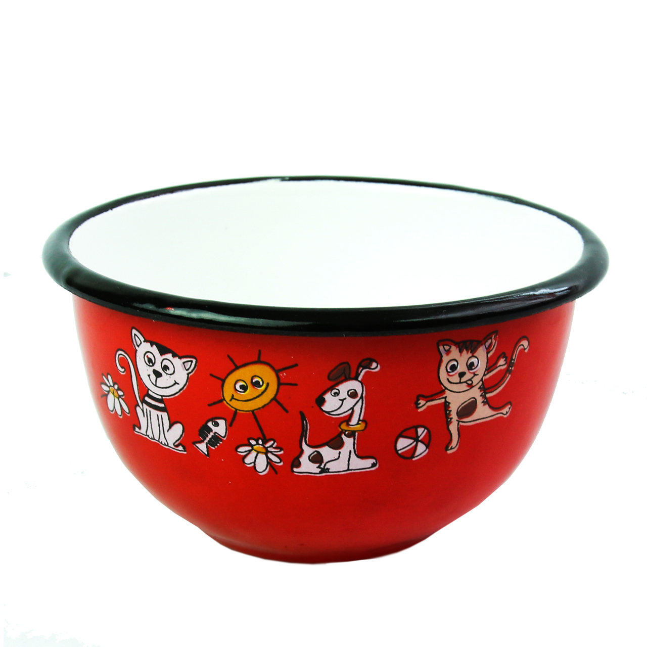 Bol Din Metal Rosu Cu Animalute 13 Cm