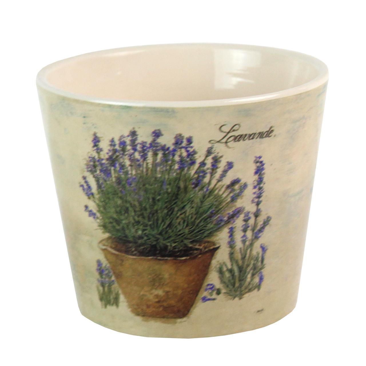 Ghiveci Din Ceramica Crem Cu Lavanda 14 Cm