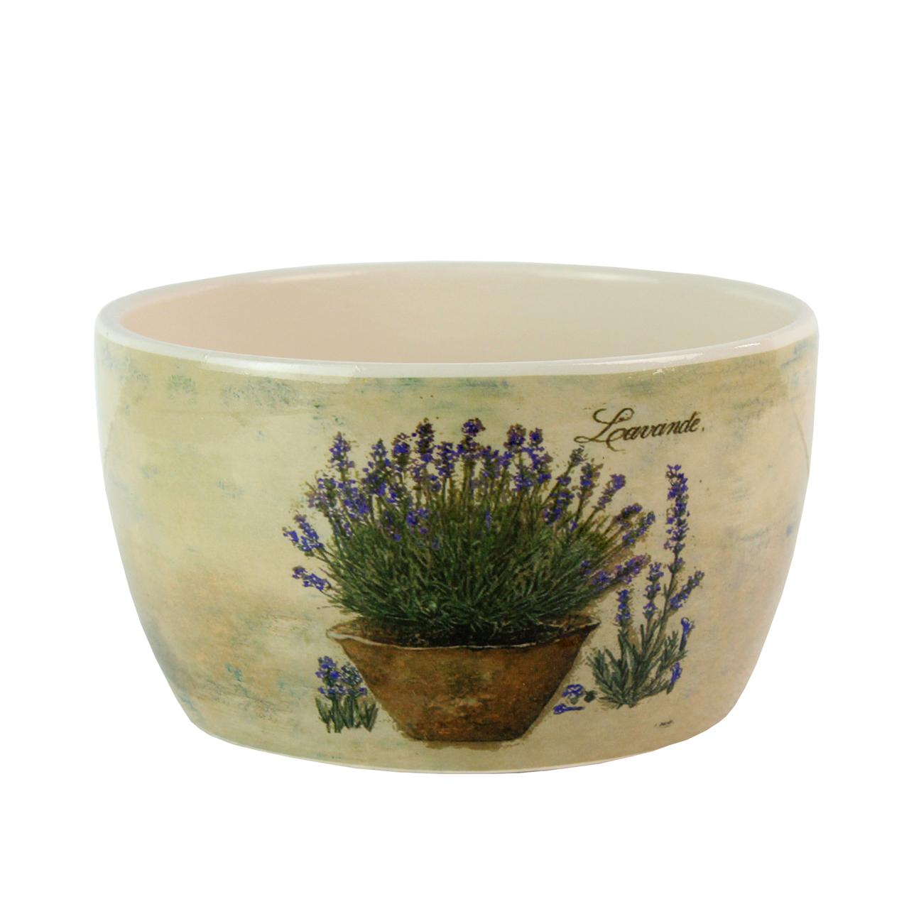 Ghiveci Din Ceramica Crem Cu Lavanda 19 Cm