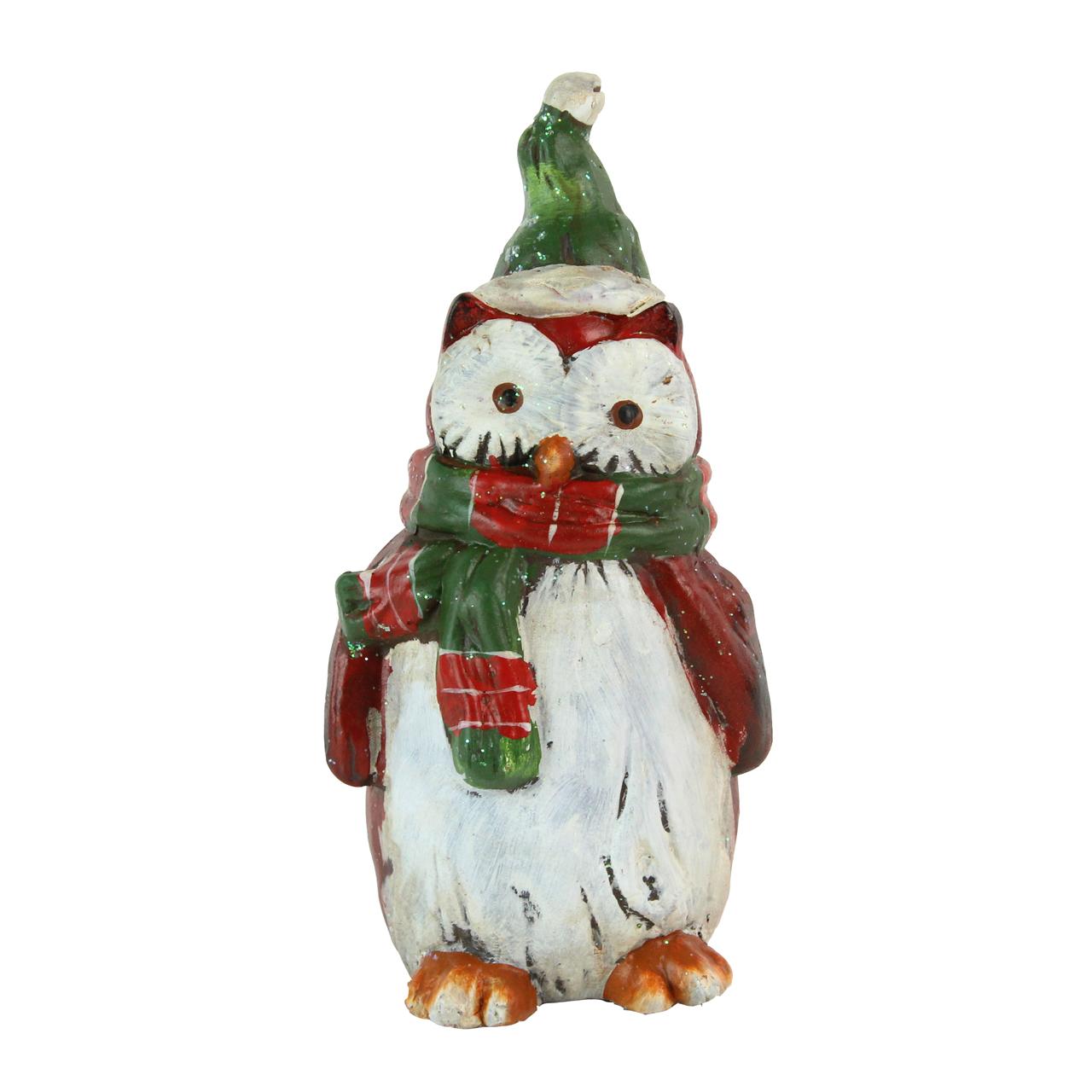Decoratiune Bufnita Cu Caciula Verde Din Ceramica