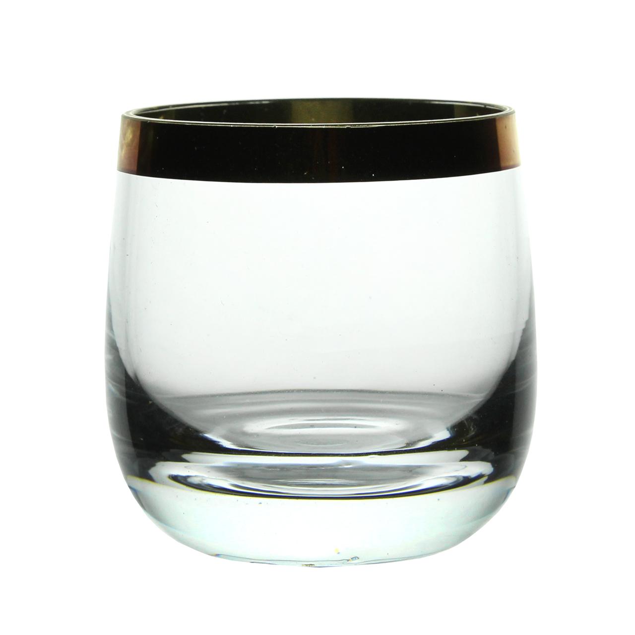 Pahar Din Sticla Cu Margine Aurie 7 Cm