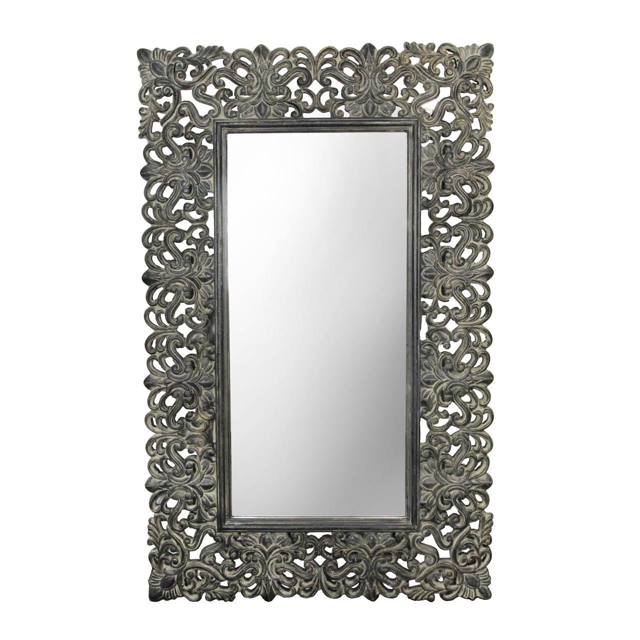 Oglinda Cu Rama Neagra Antichizat 100x160 Cm