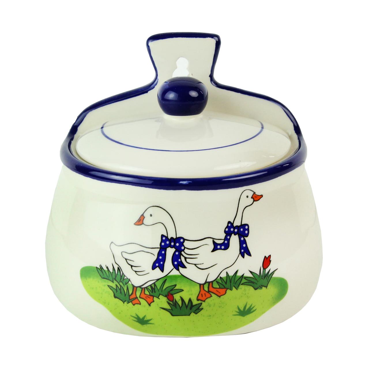 Recipient Cu Capac Din Ceramica Alba Cu Gaste 12 C