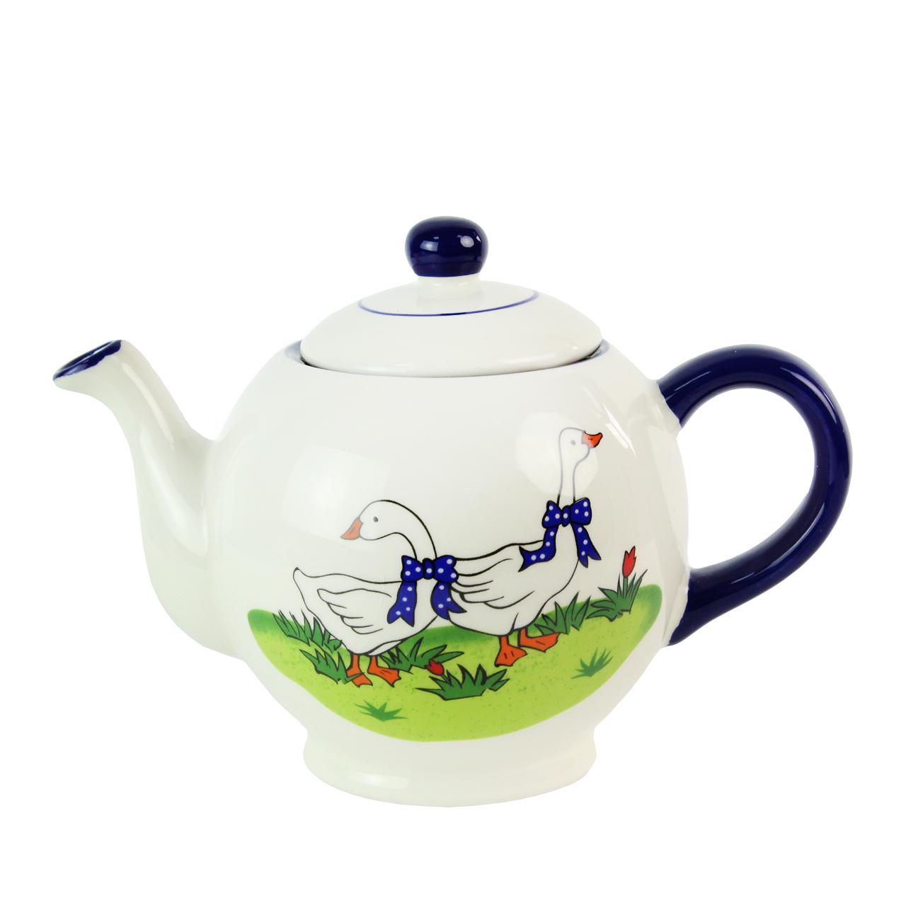 Ceainic Din Ceramica Alba Cu Gaste
