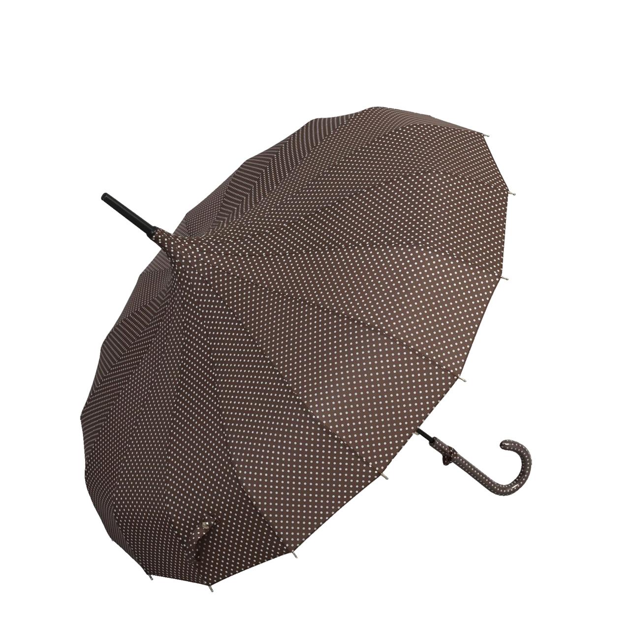Umbrela Din Textil Maro Cu Buline Albe