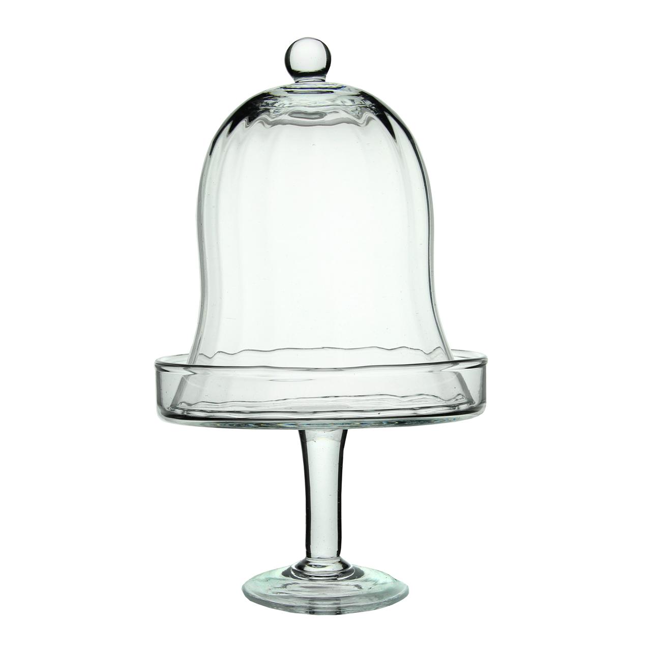 Platou Cu Picior Si Capac Clopot Din Sticla 15 Cm