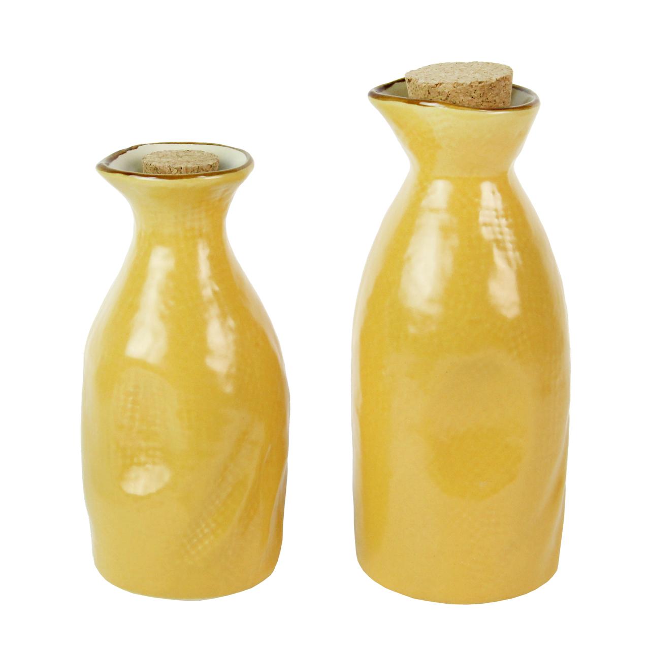 Set Cu 2 Recipiente Din Ceramica Galbena Cu Dop