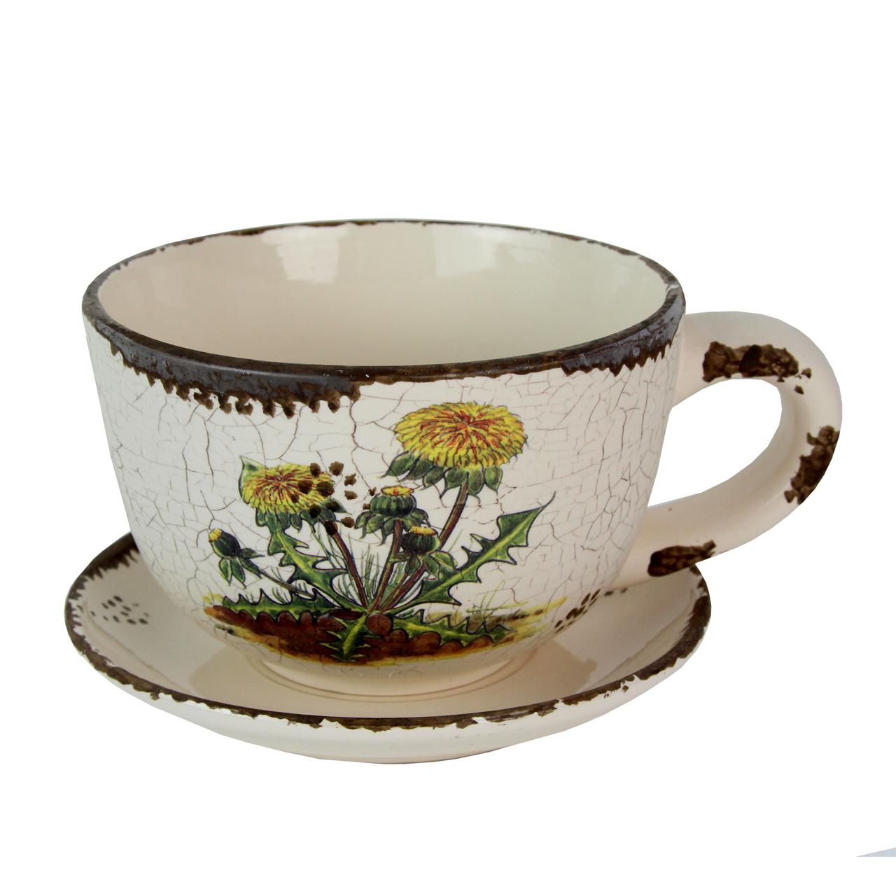 Ghiveci Ceasca Cu Papadie Din Ceramica 10.5 Cm