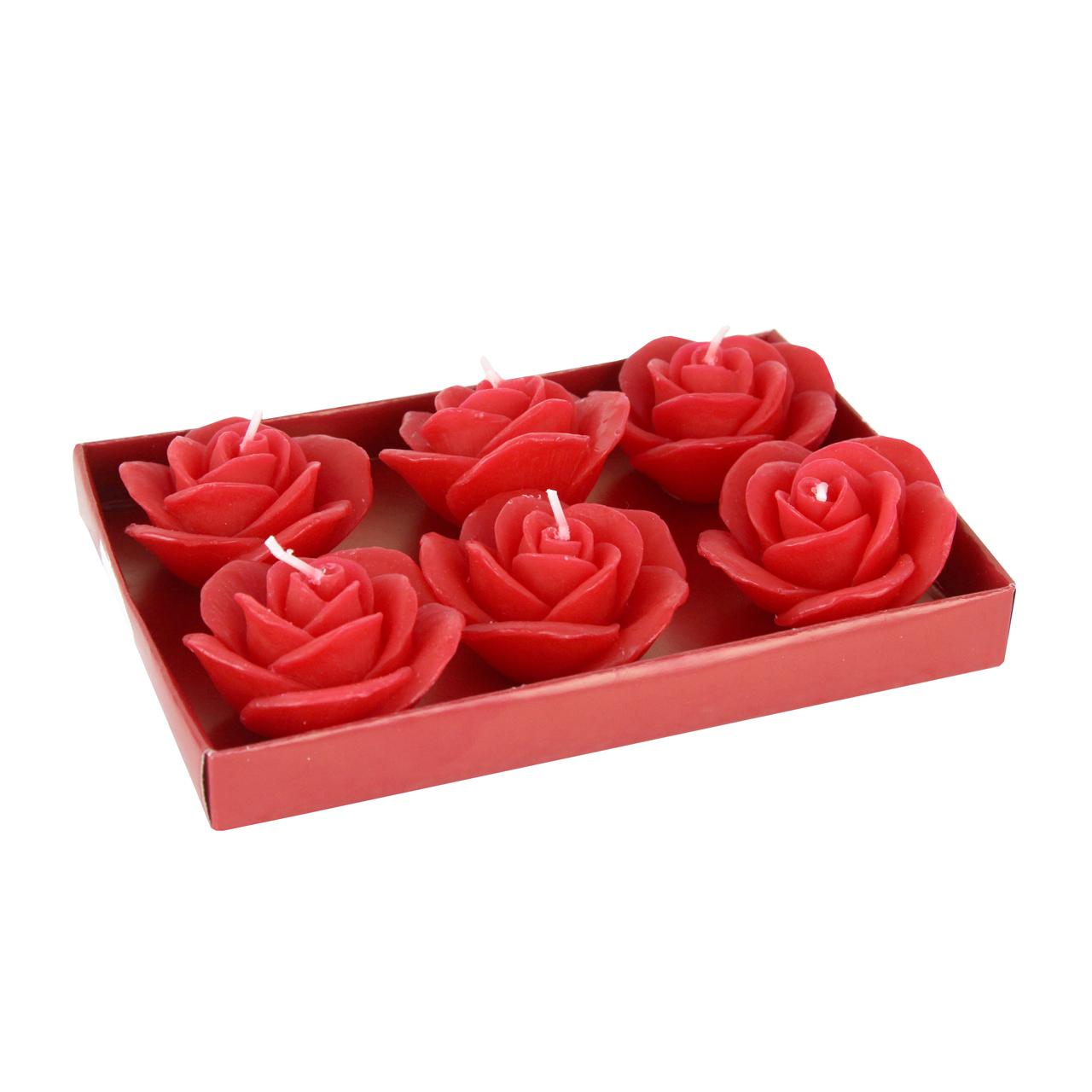 Cutie Cu 6 Lumanari Trandafiri Rosii