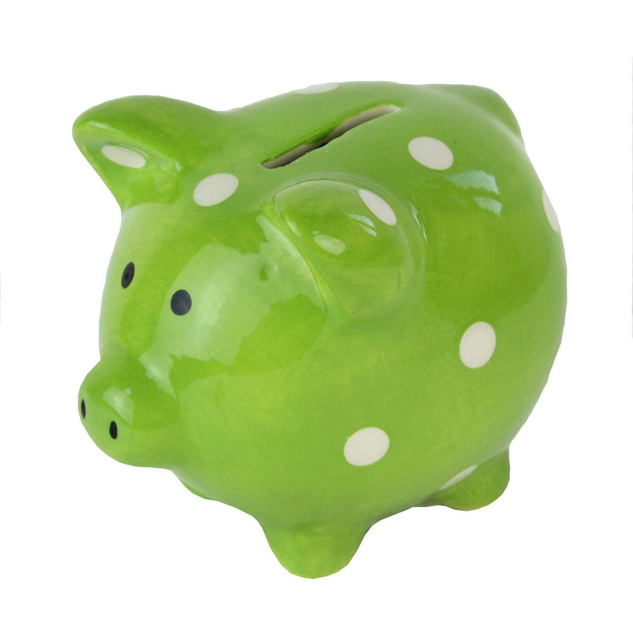 Pusculita Porcusor Din Ceramica Verde 10 Cm