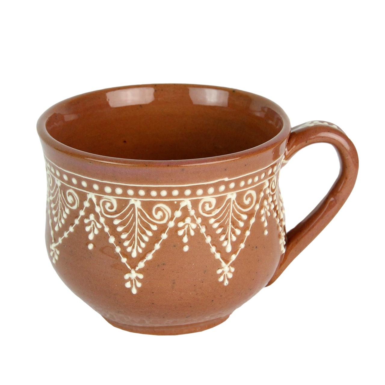 Cana Din Ceramica Maro Cu Alb 8 Cm