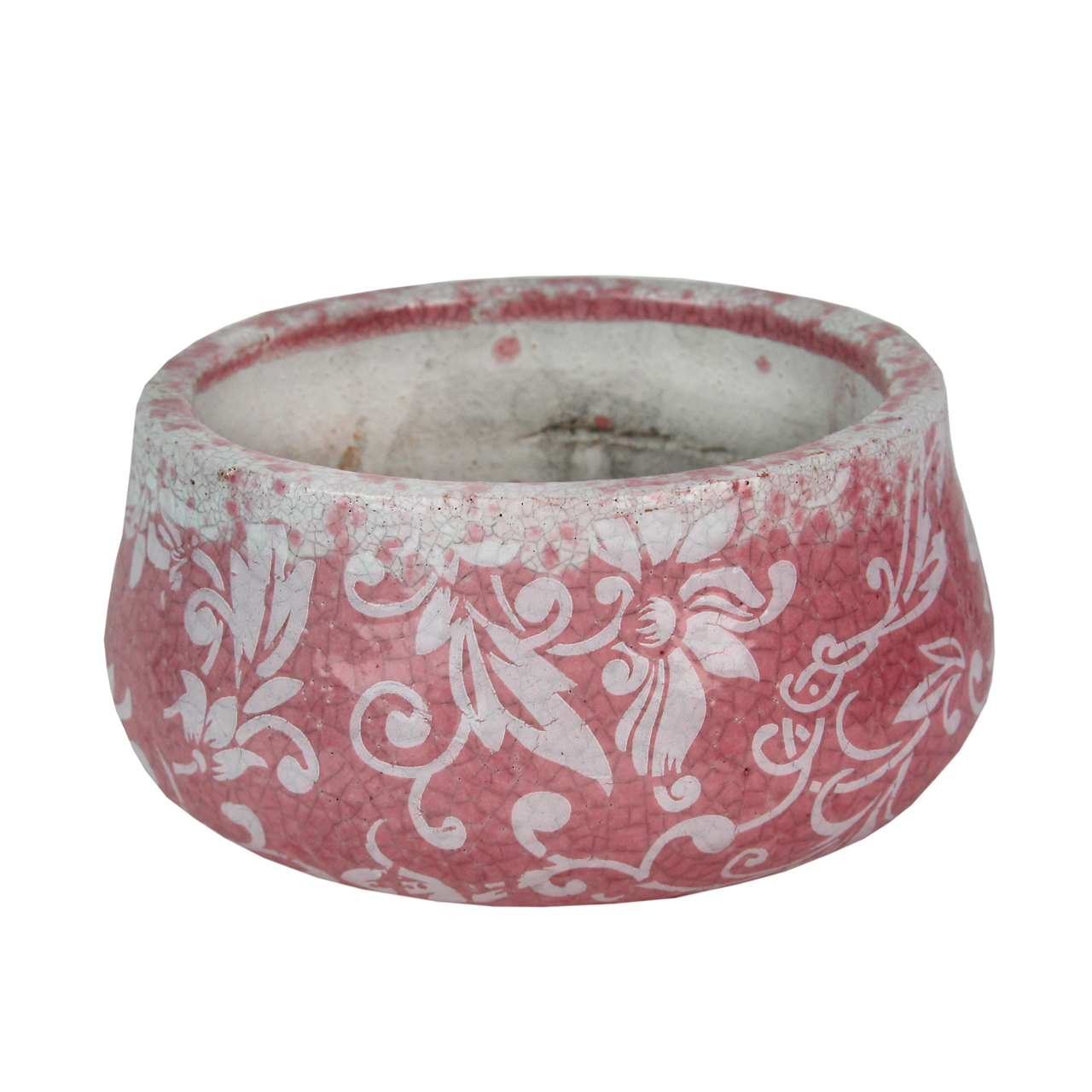 Vas Decorativ Din Ceramica Roz Cu Alb 9 Cm