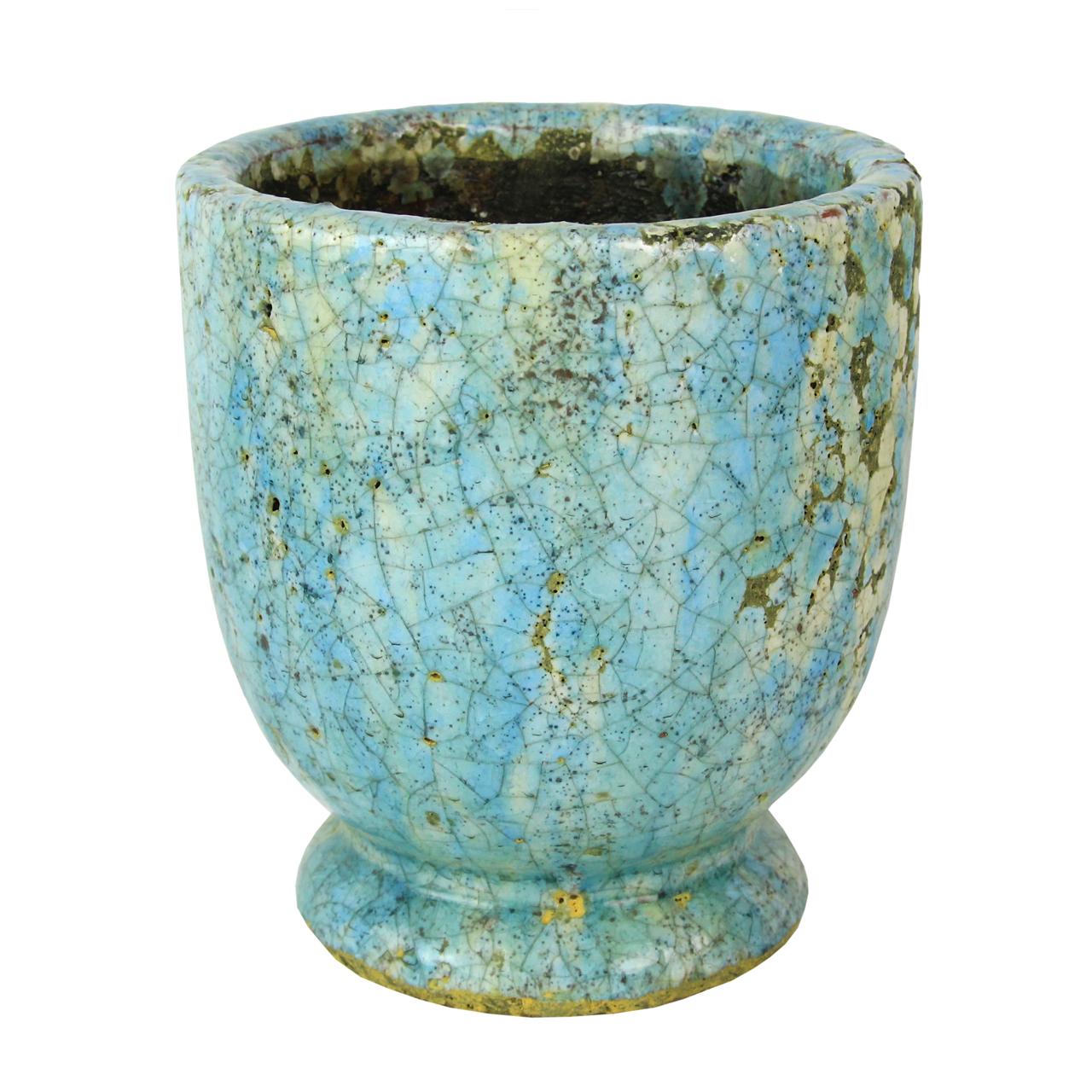 Ghiveci Retro Din Ceramica Albastra 17 Cm