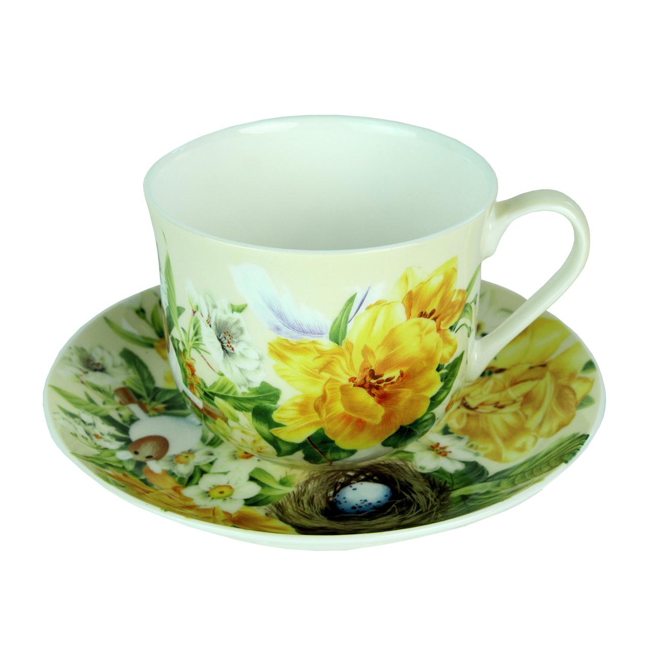 Ceasca Si Farfurie Flora Din Ceramica
