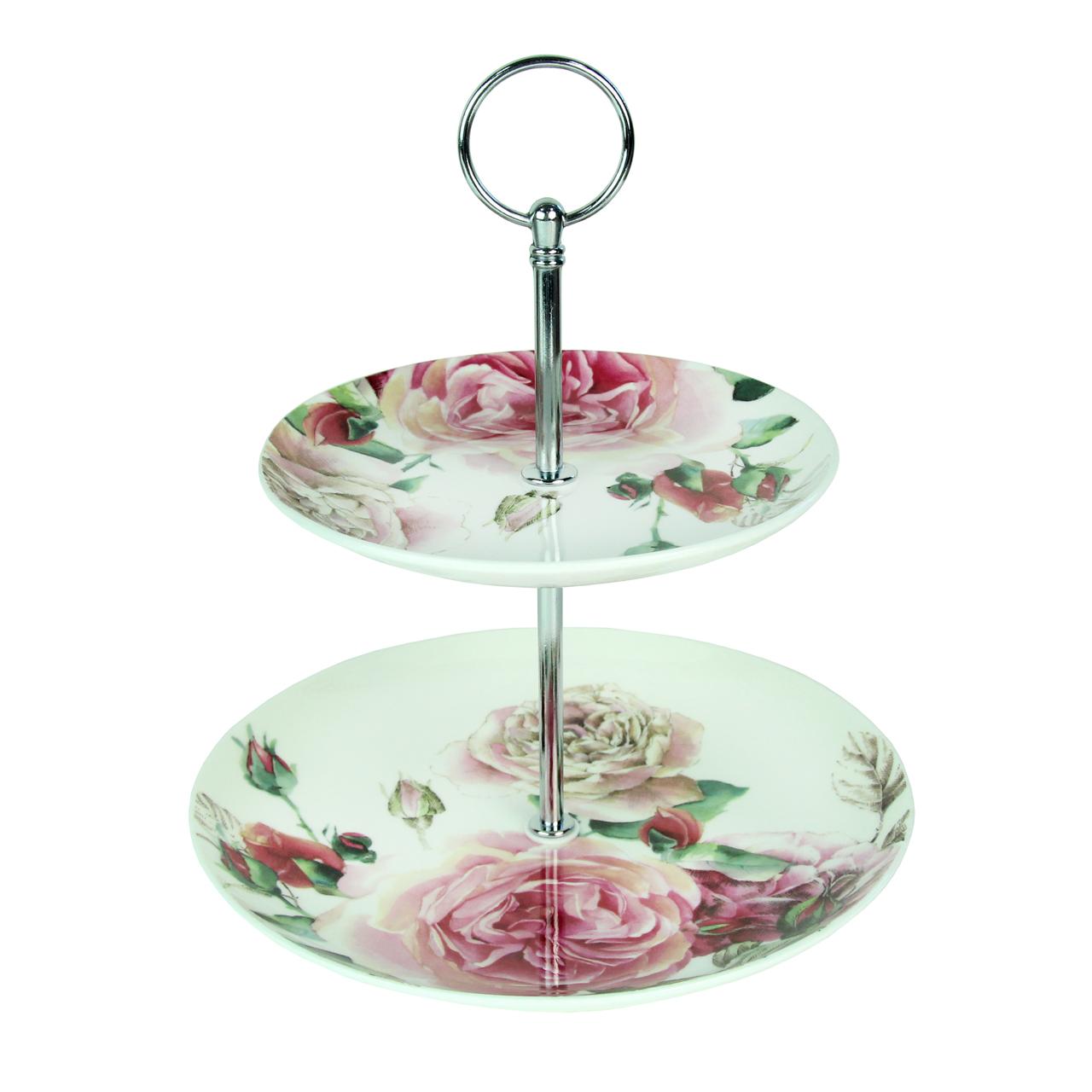 Tava Etajata Cu Trandafiri Din Ceramica 24 Cm