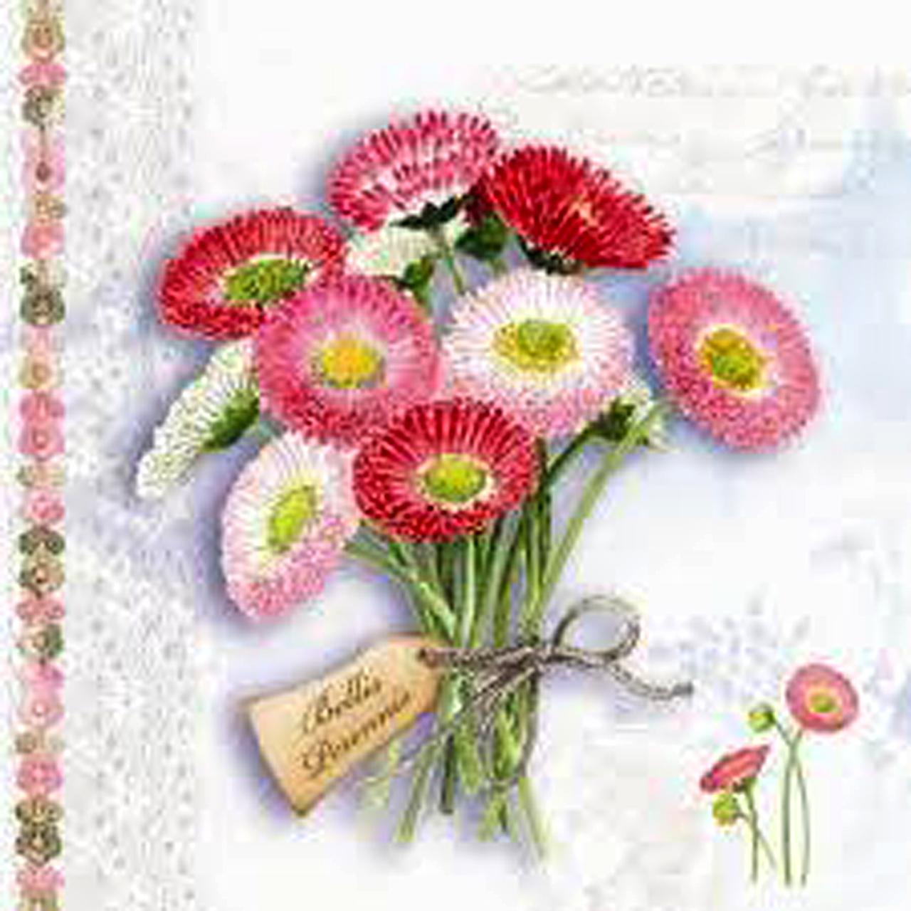 Servetele Decorative Din Hartie Cu Flori Roz 25 Cm