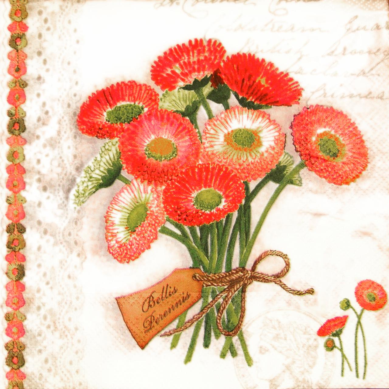 Servetele Decorative Din Hartie Cu Flori Rosii 25