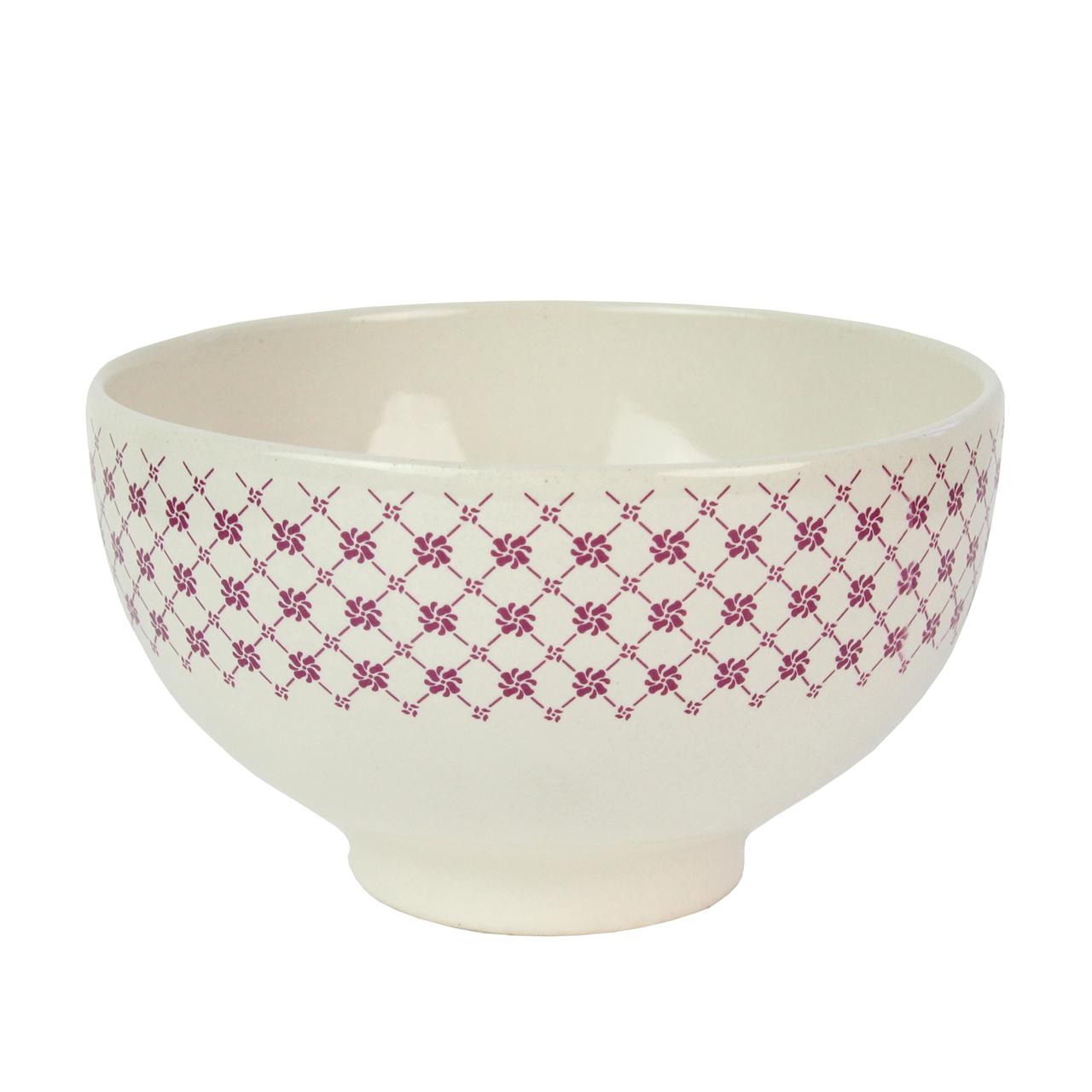Bol Din Ceramica Crem Cu Rosu 16 Cm