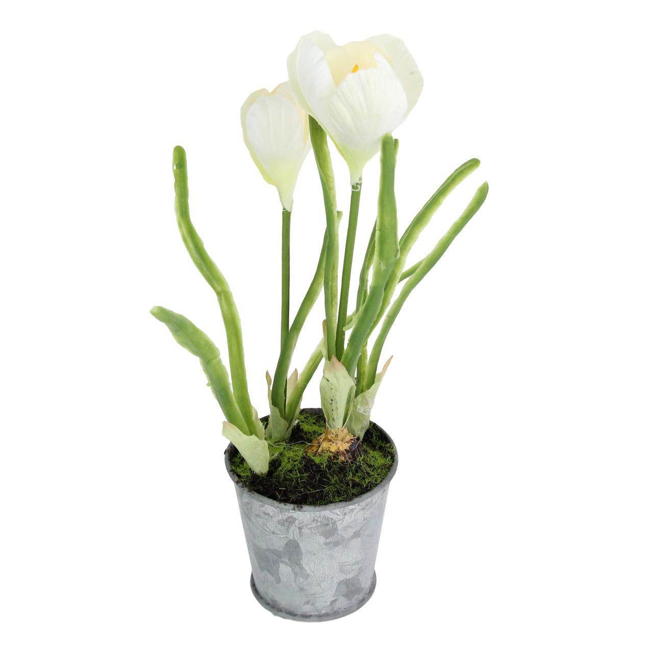 Floare Artificiala Frezie Alba In Ghiveci 22 Cm