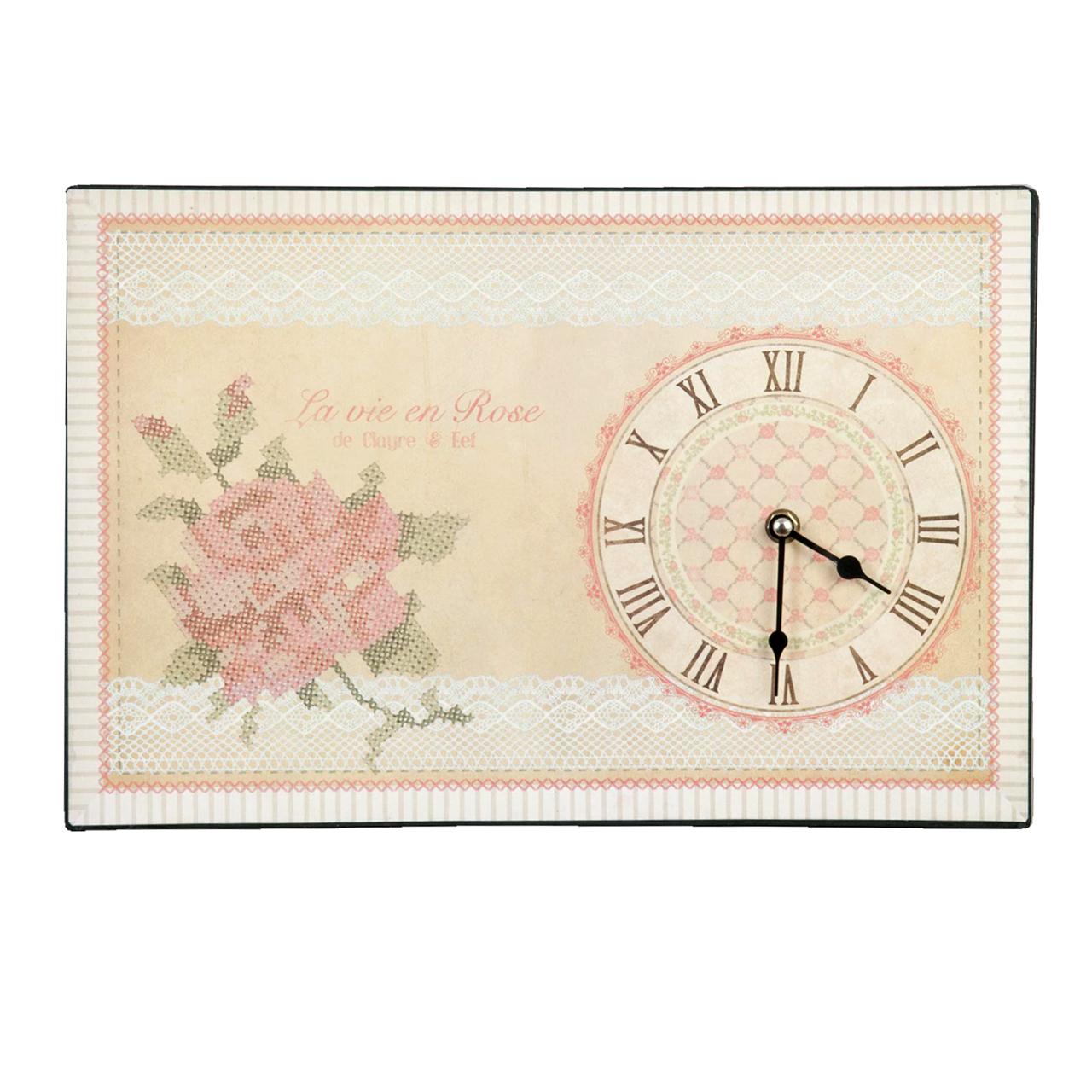 Ceas De Perete Cu Trandafir 38x25 Cm