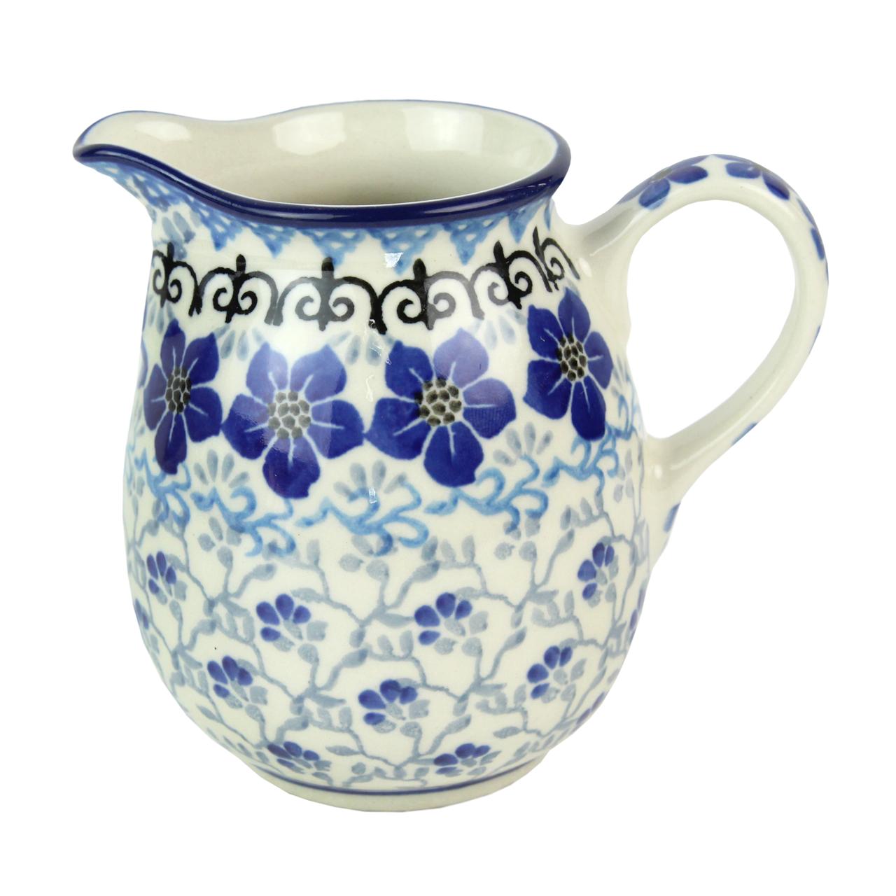 Cana Pentru Lapte Din Ceramica Cu Flori Albastre 1