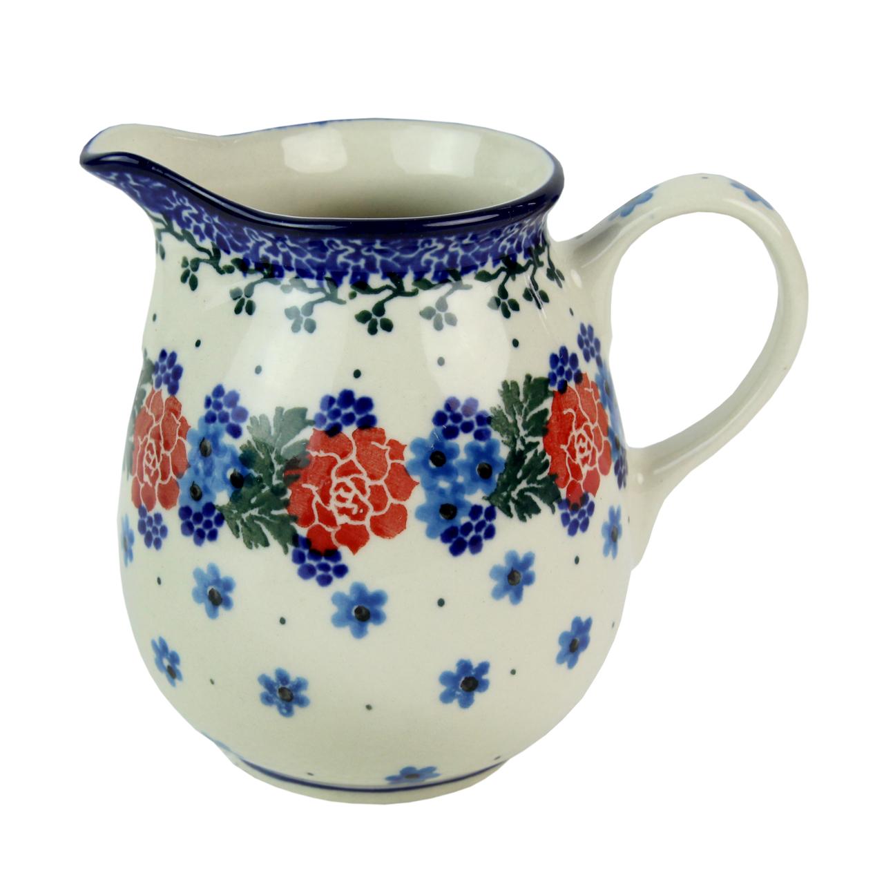 Cana Pentru Lapte Din Ceramica Cu Flori Portocalii