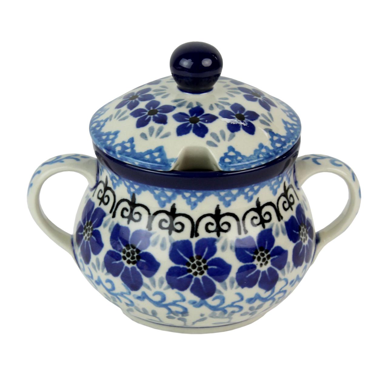 Recipient Pentru Zahar Din Ceramica Cu Flori Albas