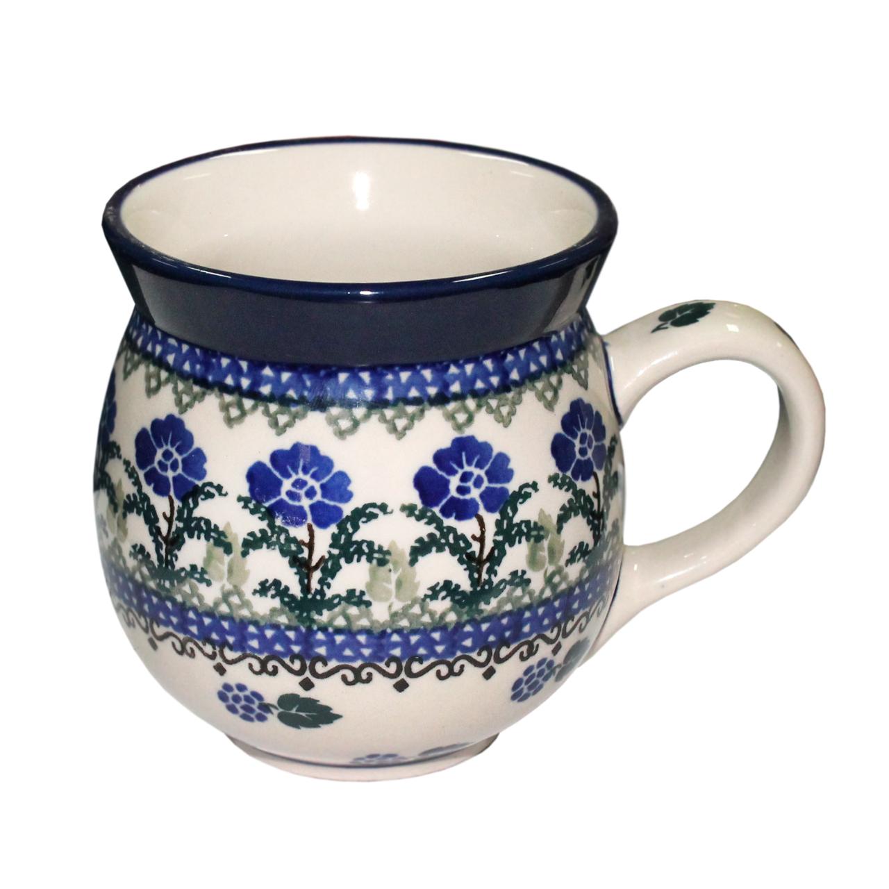 Cana Bombata Din Ceramica Crem Cu Flori 10.5 Cm