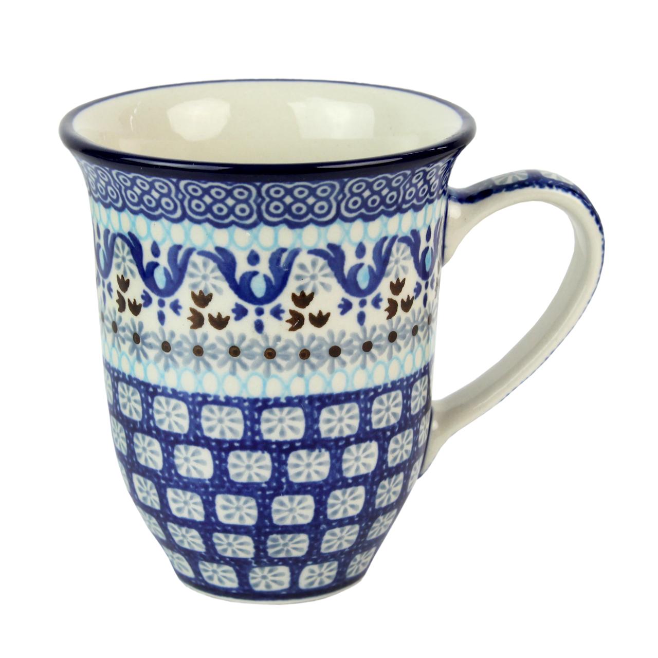 Cana Din Ceramica Crem Cu Flori Gri 12 Cm