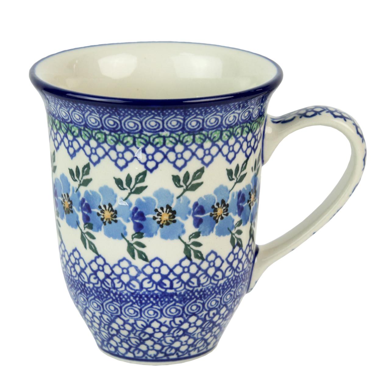 Cana Din Ceramica Cu Flori Albastre 12 Cm