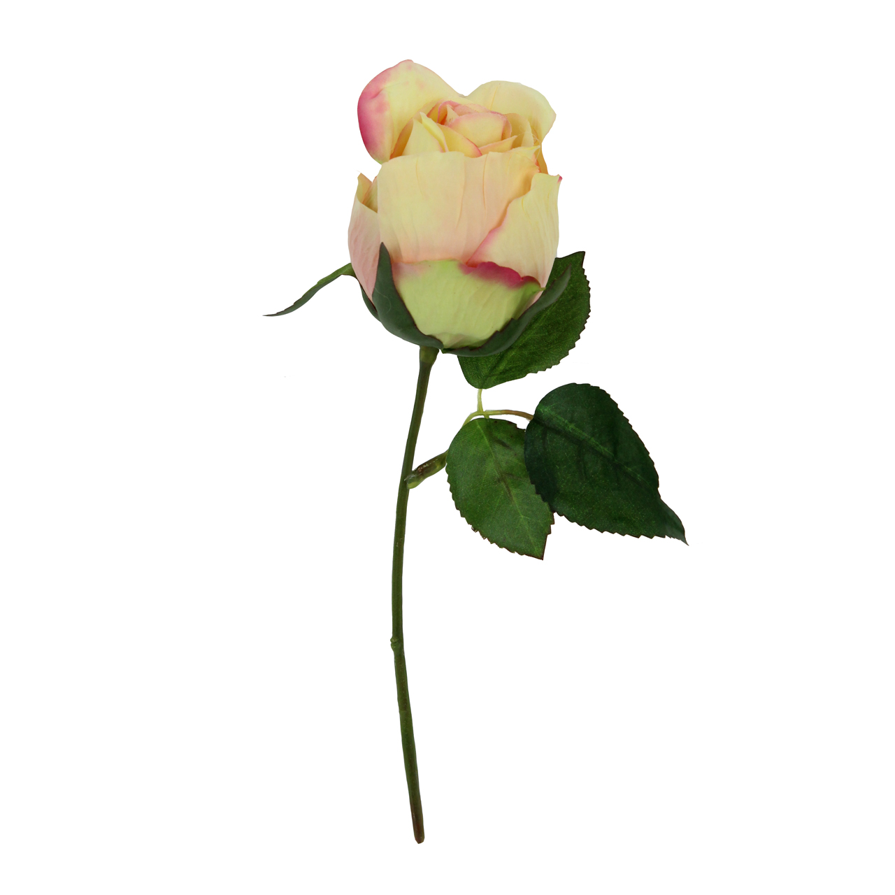 Floare Artificiala Trandafir Crem Cu Roz 15 Cm