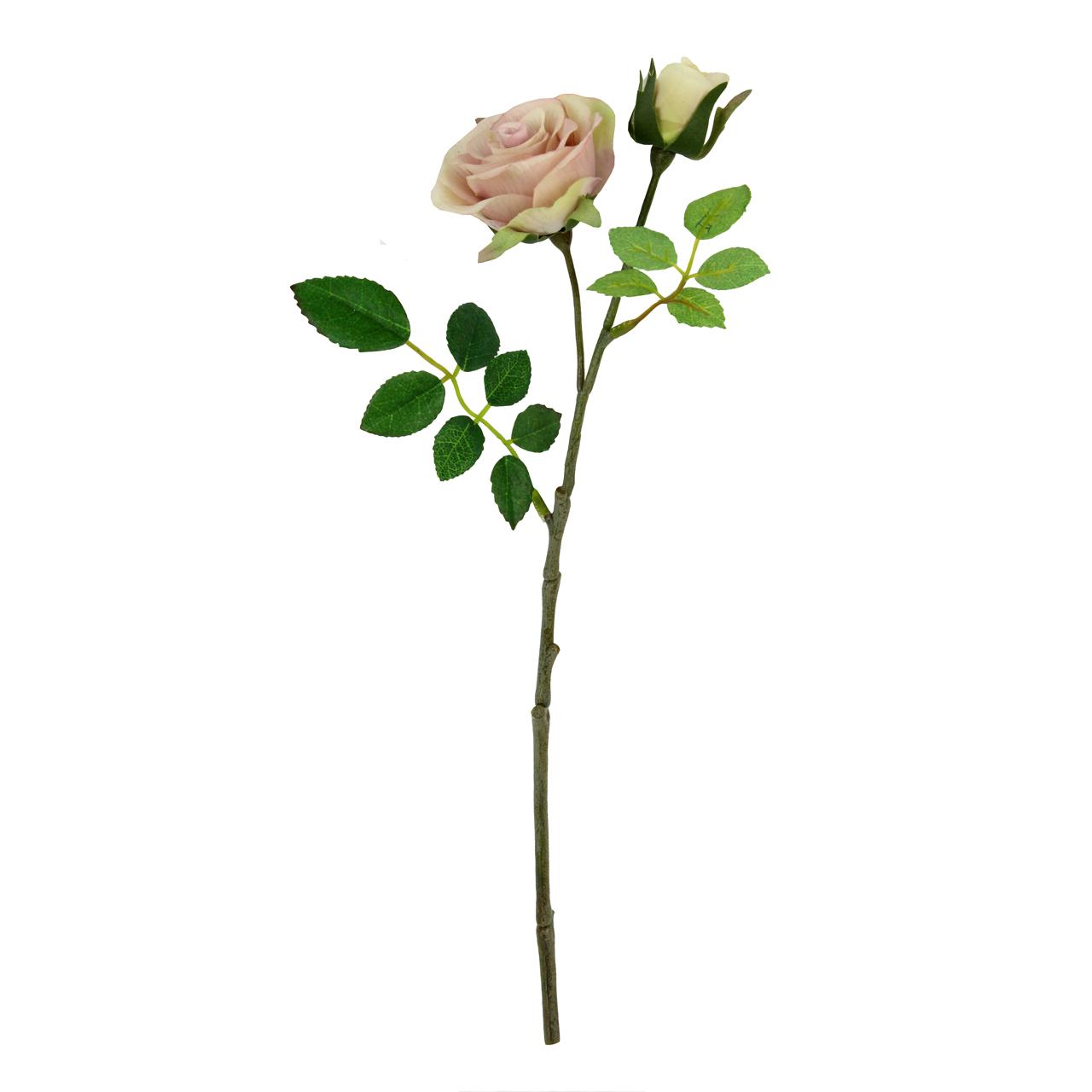 Floare Artificiala Trandafir Roz Pal 33 Cm