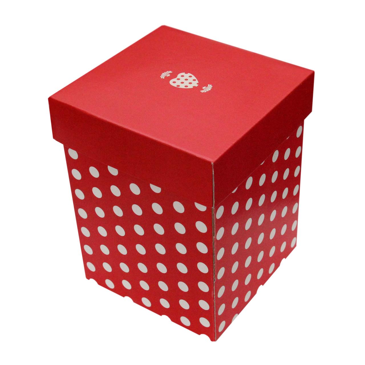 Cutie Pentru Cadou Din Carton Rosu Cu Buline