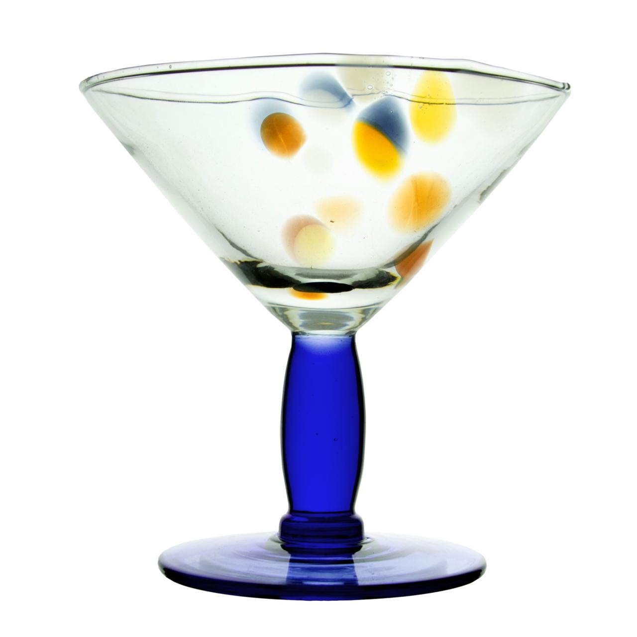 Cupa Cu Picior Albastru Din Sticla 16 Cm