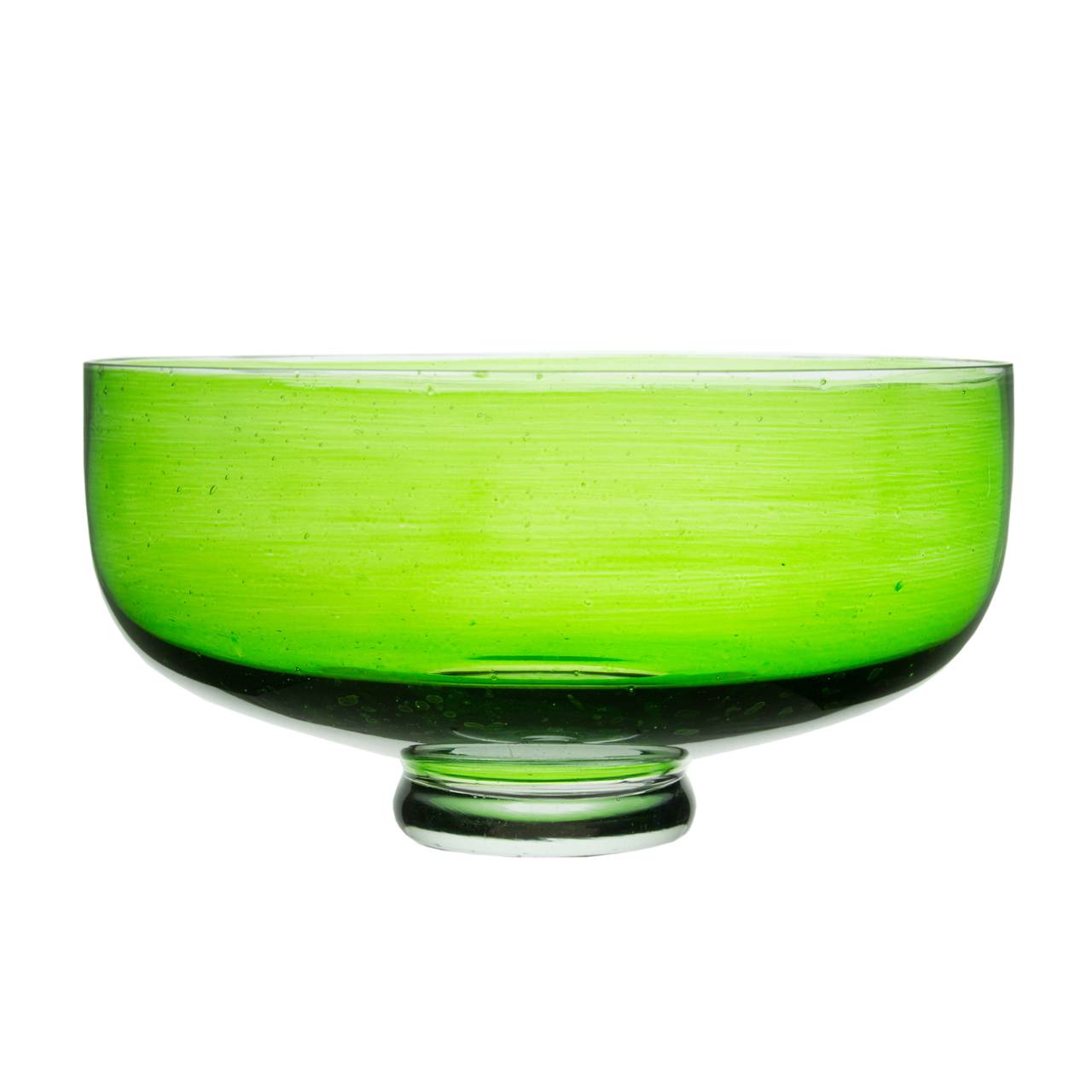 Bol Cu Picior Veer Din Sticla Verde 28.5 Cm