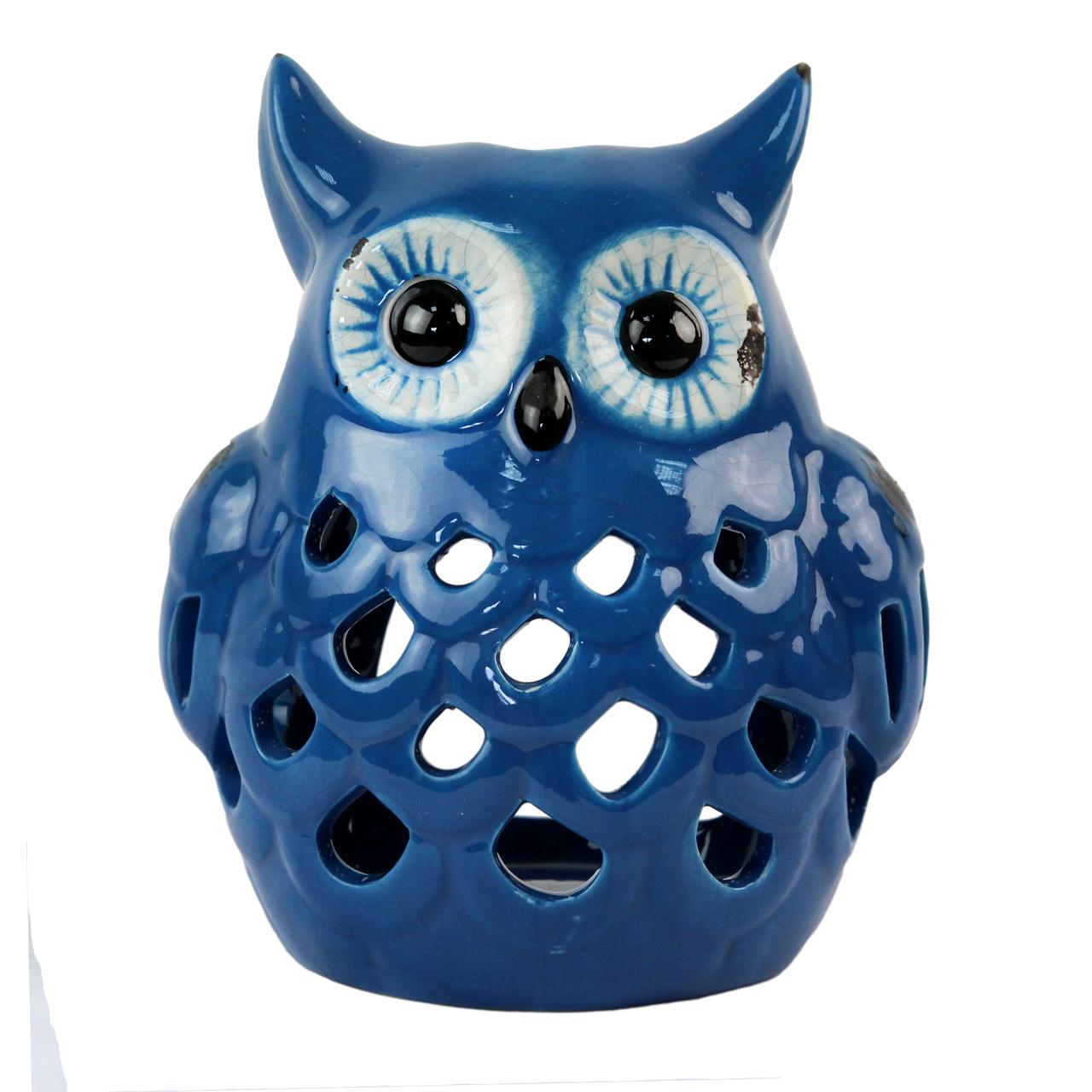 Candela Bufnita Din Ceramica Albastra 15 Cm