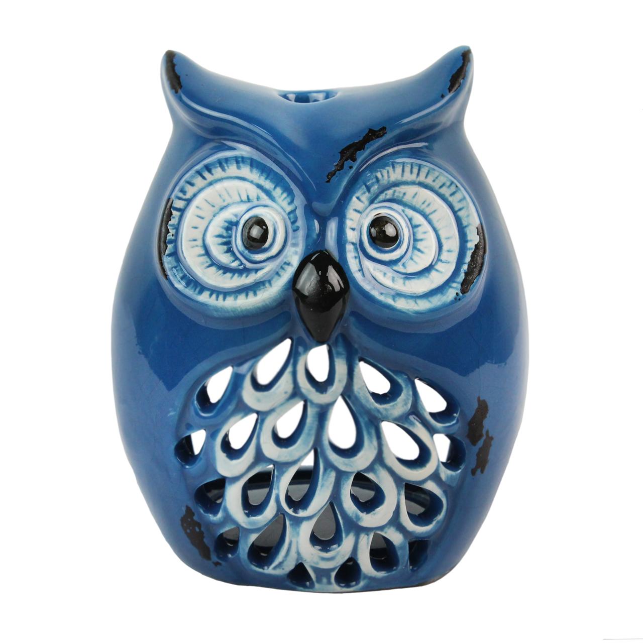 Candela Bufnita Din Ceramica Albastra 13 Cm