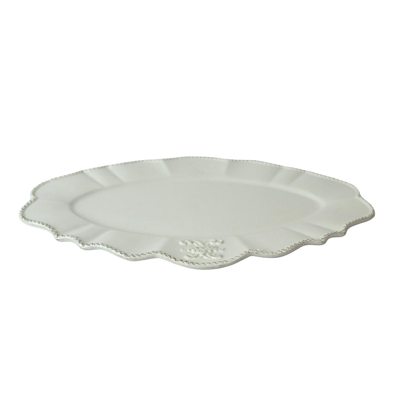 Platou Oval Din Ceramica Alba 42x26 Cm