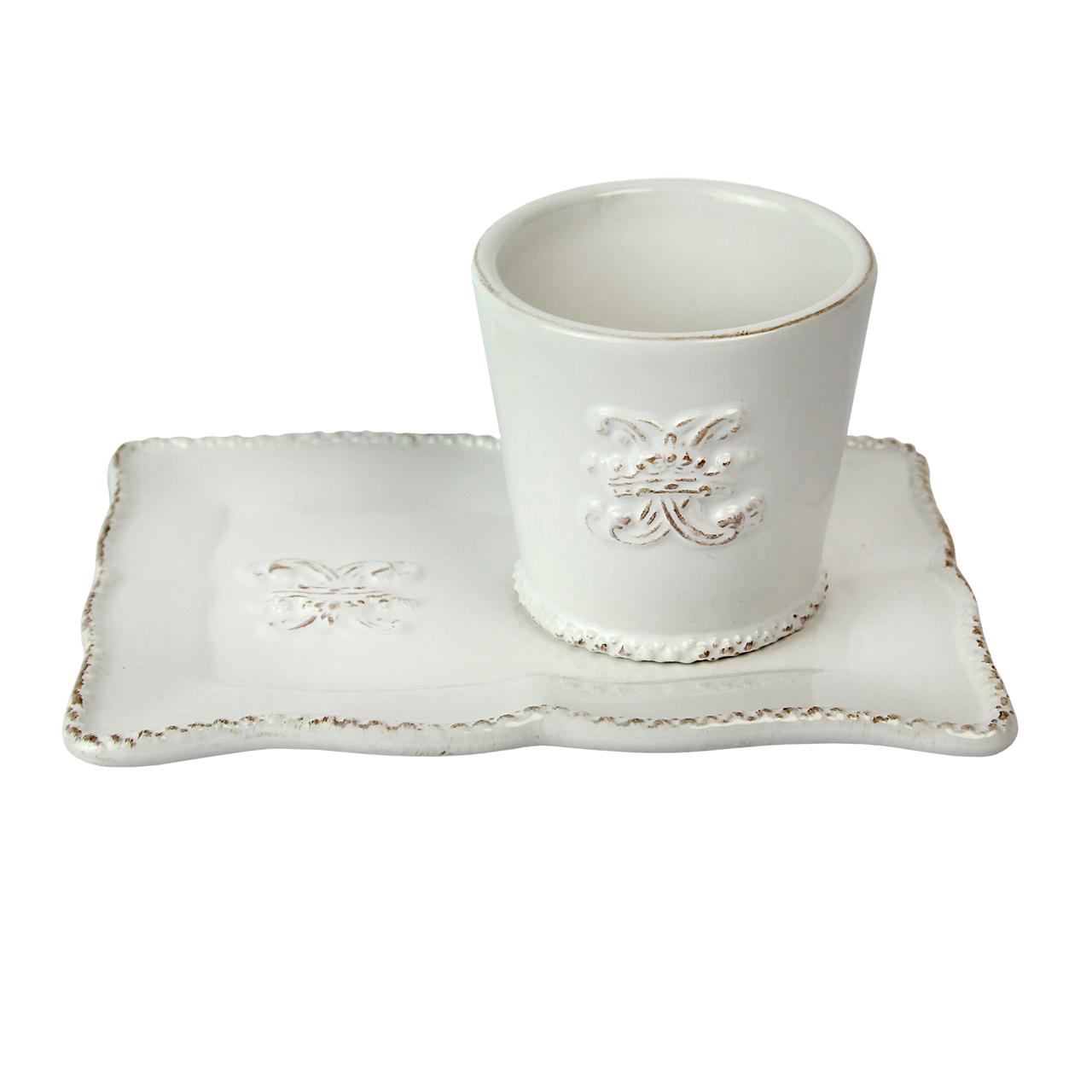 Cana Cu Farfurie Dreptunghiulara Din Ceramica Alba