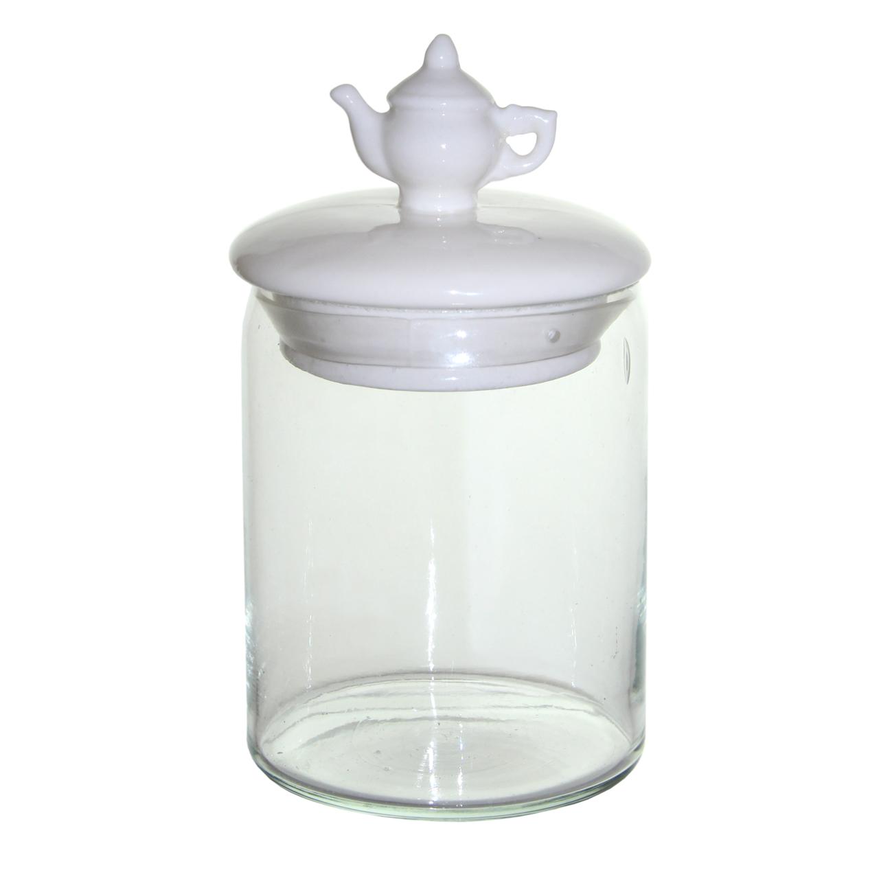 Recipient Din Sticla Cu Capac Ceainic Din Ceramica